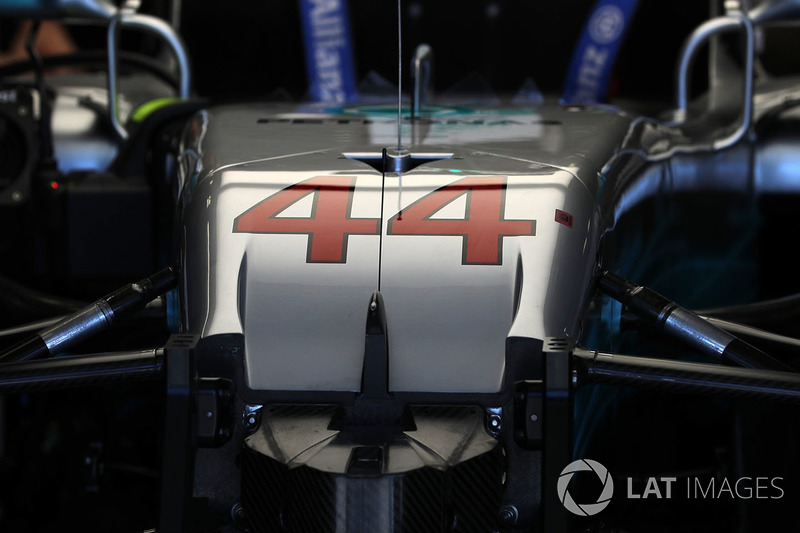 Car of Lewis Hamilton, Mercedes-Benz F1 W08 Hybrid in the garage