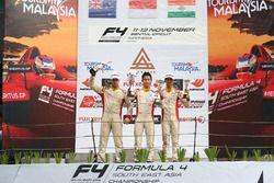 Podium Race 4: race winner Presley Martono, second place Faine Kahia, third place Mohammed Nalwalla