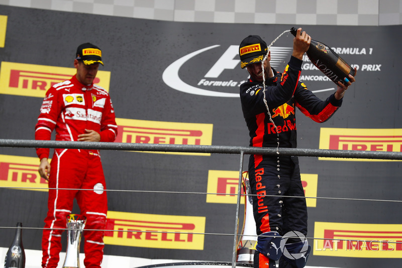 Podium: second place Sebastian Vettel, Ferrari,third place Daniel Ricciardo, Red Bull Racing