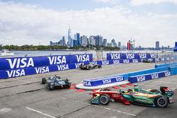 Adam Carroll, Jaguar Racing, leads Daniel Abt, ABT Schaeffler Audi Sport