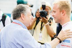 Felix Rosenqvist, Mahindra Racing, mit Jean Todt