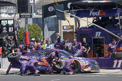 Denny Hamlin, Joe Gibbs Racing Toyota, makes a pit stop