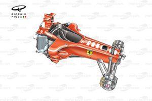 Détails du châssis de la Ferrari F2005, notez l'angle des radiateurs dans les pontons