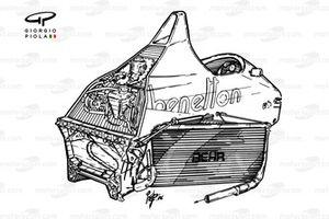 Benetton B186 1986, dettaglio del packaging del telaio
