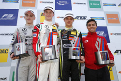 Podium: Race winner Callum Ilott, Prema Powerteam, Dallara F317 - Mercedes-Benz, second place Jake Hughes, Hitech Grand Prix, Dallara F317 - Mercedes-Benz, third place Lando Norris, Carlin Dallara F317 - Volkswagen