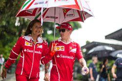 Kimi Raikkonen, Ferrari and Stefania Bocchi, Ferrari Press Officer