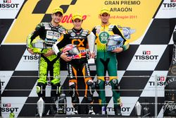 Podium: second place Andrea Iannone, Race winner Marc Marquez, third place Simone Corsi