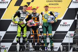 Podium: second place Andrea Iannone, Race winner Marc Marquez, third place Simone Corsi