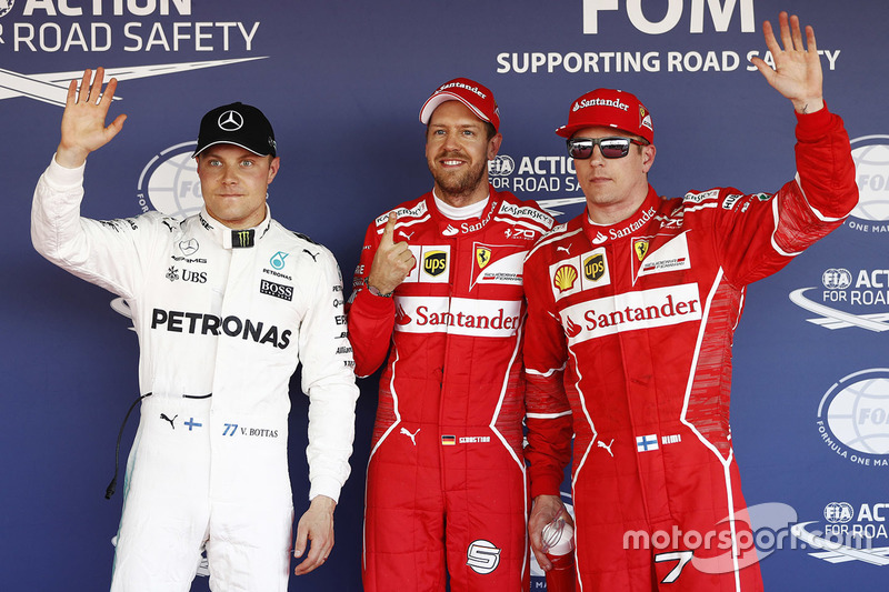 Поул-сіттер Себастьян Феттель, Ferrari, друге місце - Кімі Райкконен, Ferrari, третє місце - Валттері Боттас, Mercedes AMG F1
