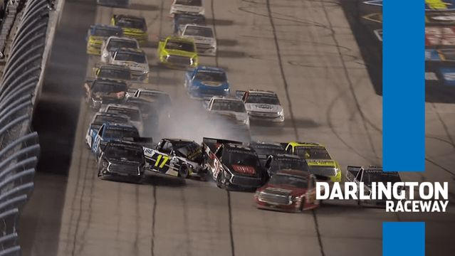 Aggressive restart at Darlington results in multi-truck wreck