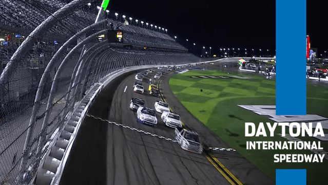 Camping World Trucks racing in wet conditions on Daytona Road Course