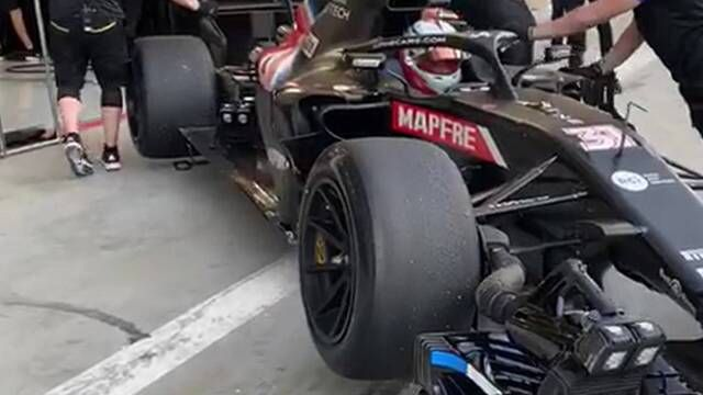 Esteban Ocon tests the 18 inch Pirelli tyres