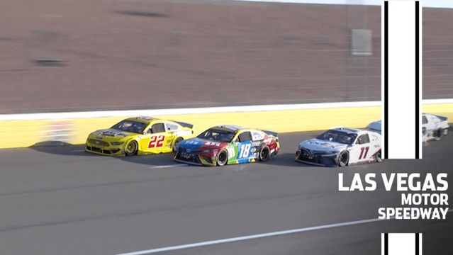 Logano, Kyle Busch make contact as Hamlin goes three-wide at Las Vegas