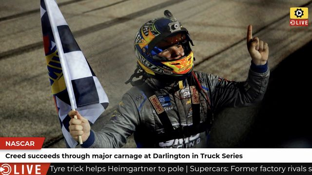 NASCAR: Creed wins despite major carnage at Darlington