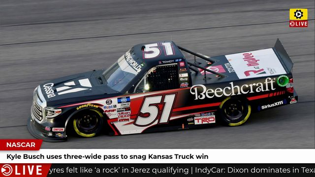 NASCAR: Kyle Busch uses three-wide pass to snag Kansas Truck win