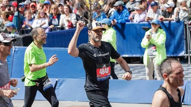 Jimmie Johnson at the Boston Marathon