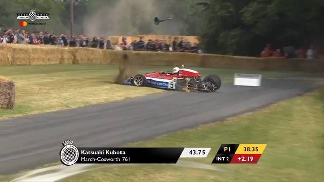 Goodwood FOS: Katsuaki Kubota crashes his March-Cosworth 761