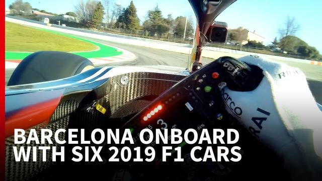Onboard lap of Barcelona with six 2019 F1 cars