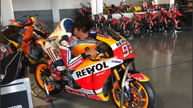 Marc Márquez's testing himself after the surgery