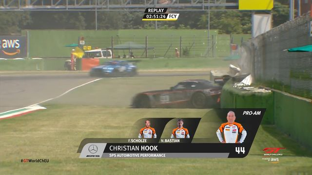 GT World Challenge Europe: Imola - Christian Hook's crash