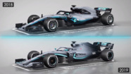 Mercedes' 2018 and 2019 F1 cars compared