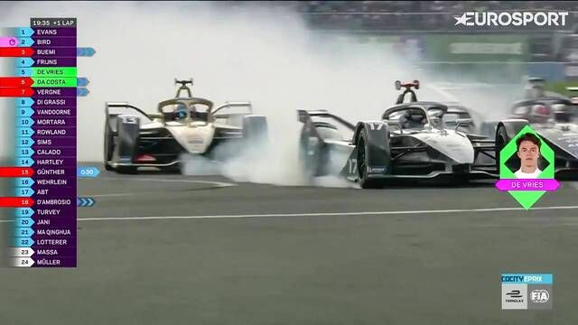 Mexico City E-Prix: Nyck de Vries, Antonio Felix da Costa and Robin Frijns crash