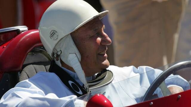 Sir Stirling Moss reunites with the Maserati 250F