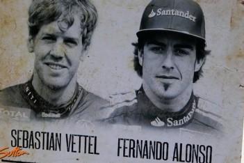 Man tegen man: Sebastian Vettel en Fernando Alonso