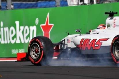 Haas F1 kleurloos in achterhoede in Mexico-Stad