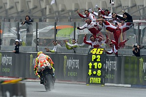 MotoGP Ducati and Rossi celebrate podium finish in wet French GP