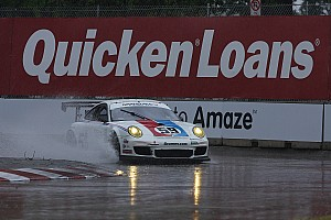 Grand-Am Porsche teams adapt to drying conditions in Detroit on Friday