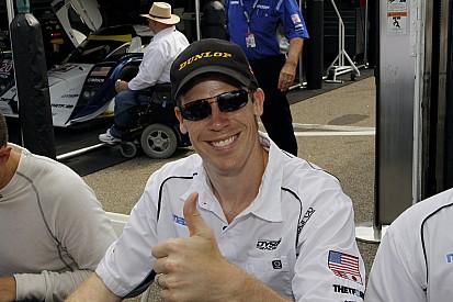 Chris Dyson celebrates his 100th series race at Baltimore