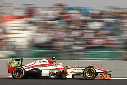 Neither De la Rosa nor Karthikeyan had a clean lap on qualifying for the Indian GP