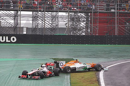 Sahara Force India's Hulkenberg competed for the victory at Interlagos
