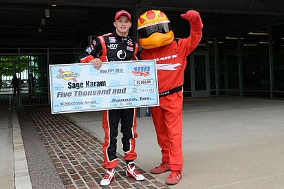 Karam captures pole position for Freedom 100 in Indianapolis