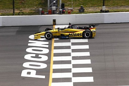 Pocono's elevated sprocket drive shape gives IndyCar traction