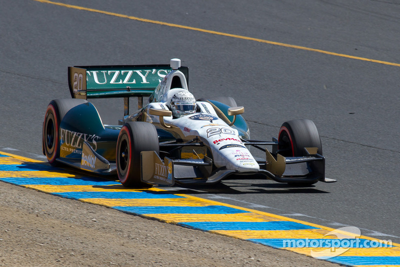 Carpenter clips Hinchcliffe's stalled car at the start Saturday