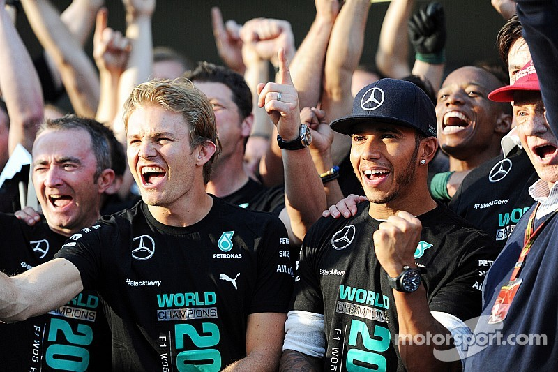 Mercedes team celebrates constructor's title at Brackley and Brixworth