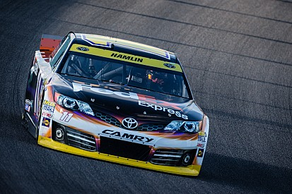 Hamlin flexes his muscles during Saturday's practice sessions
