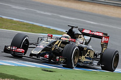 Lotus E23 takes to the track for the first time today at Jerez