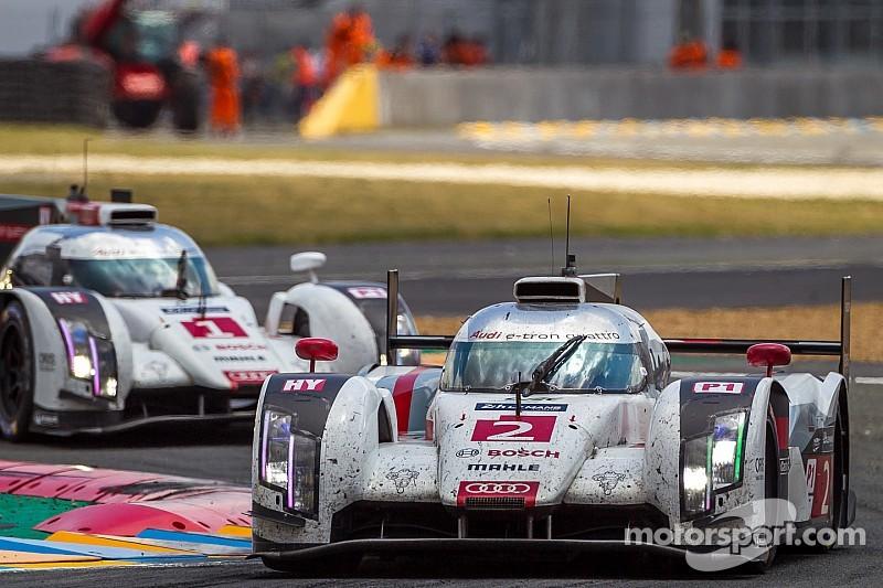 Three Audi R18 e-tron quattro cars at Le Mans