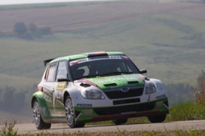 Jan Kopecky in front for Skoda on Rally Zlin