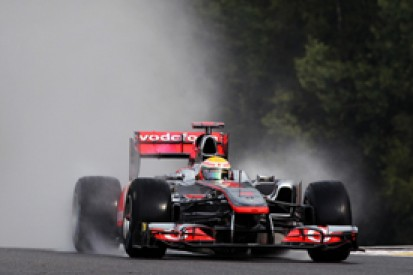 Lewis Hamilton says he was lucky to avoid a huge crash in Belgian Grand Prix practice