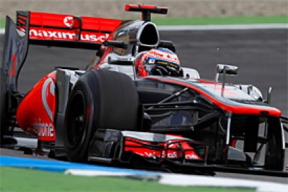 Jenson Button quickest in rain-hit first practice for the German Grand Prix
