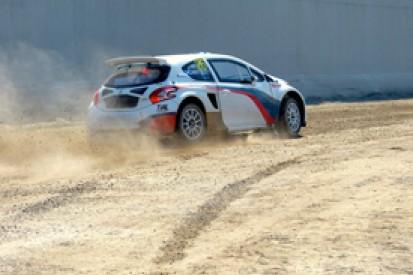 Mika Salo tests European Rallycross Peugeot