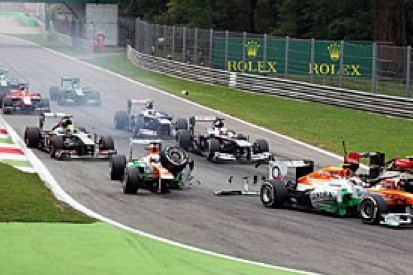 Italian GP: Di Resta reprimanded for first-lap crash with Grosjean