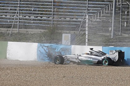 Lewis Hamilton crashes new Mercedes F1 car at Jerez