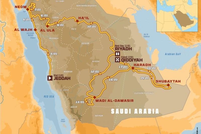 Route der Rallye Dakar 2020: Zwölf Etappen in Saudi-Arabien