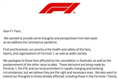 Corona-Absagen: Chase Carey schreibt offenen Brief an Formel-1-Fans