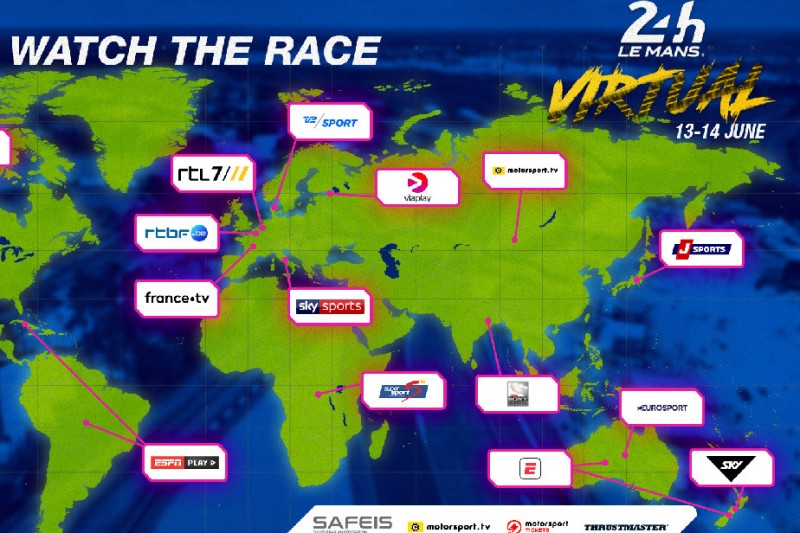 24h Le Mans virtuell: Übersicht der TV-Übertragungspartner
